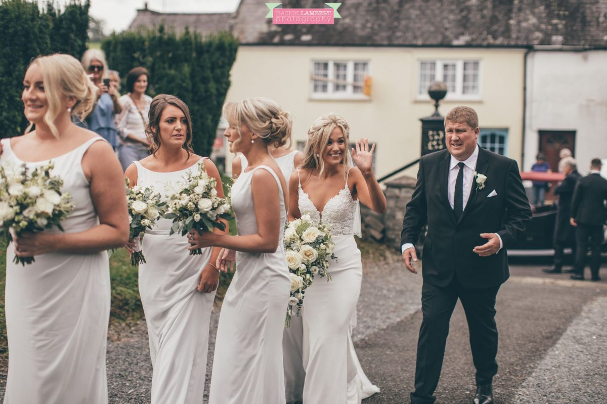 bride arrival at the church at the grove narberth
