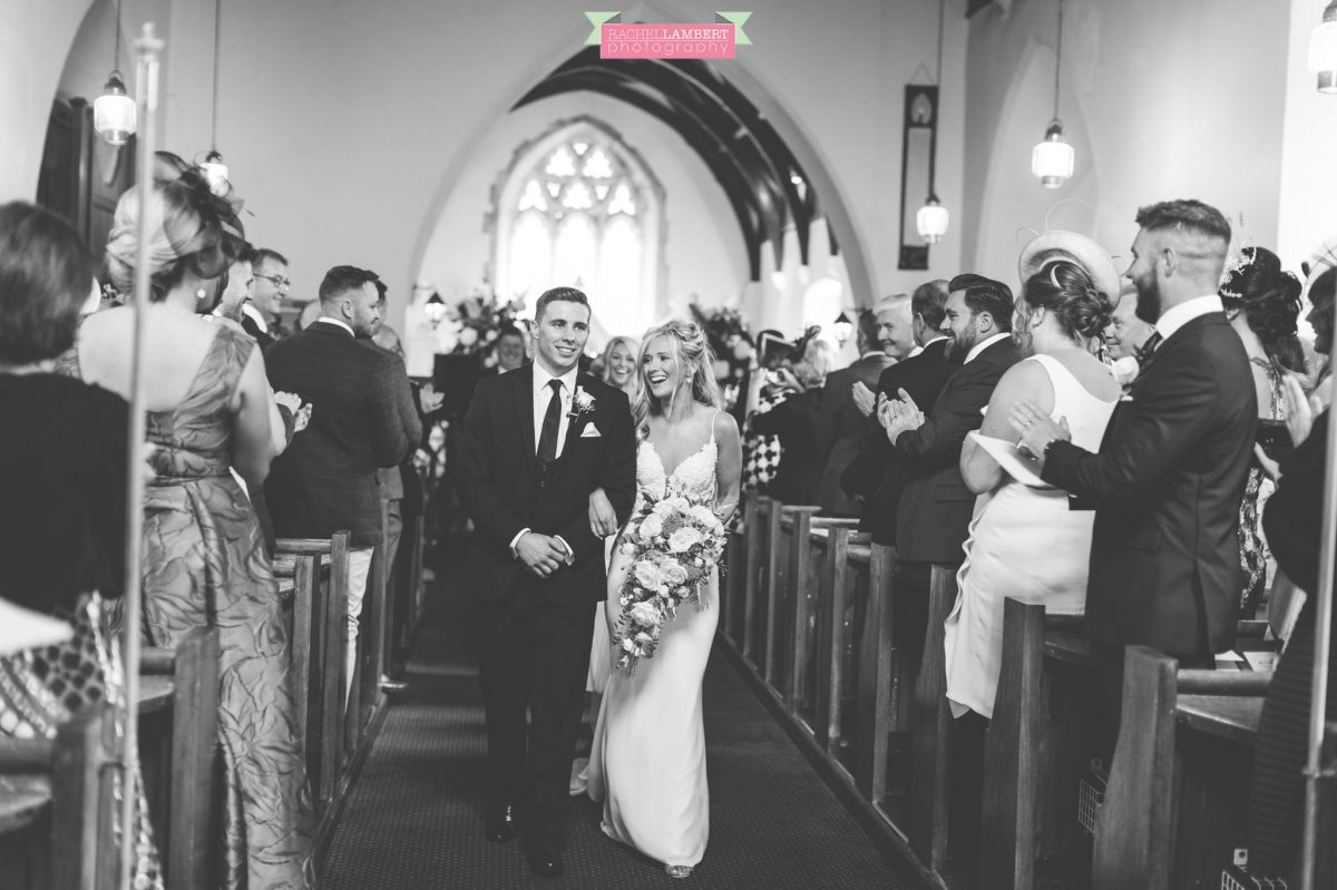 bride and groom exiting the church wedding