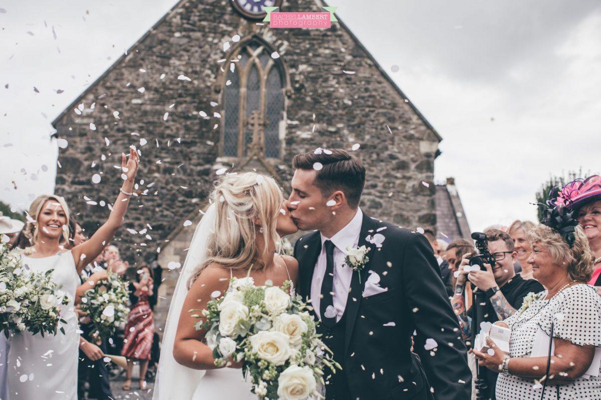 confetti shot outside church wedding