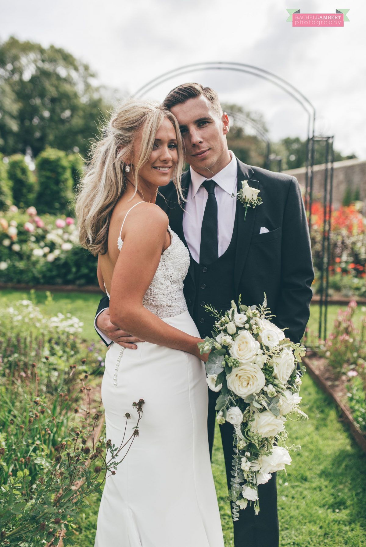 bride and groom wedding portrait flower garden the grove narberth