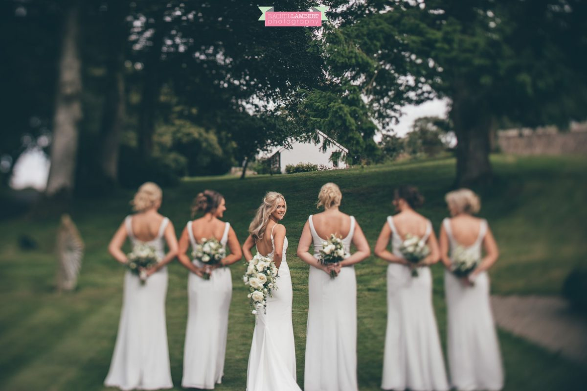 bride and bridesmaids bridal bouquet the grove nartberth tilt shift lens