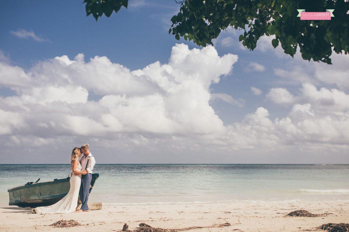 beach bride and groom jamaica seascape boat