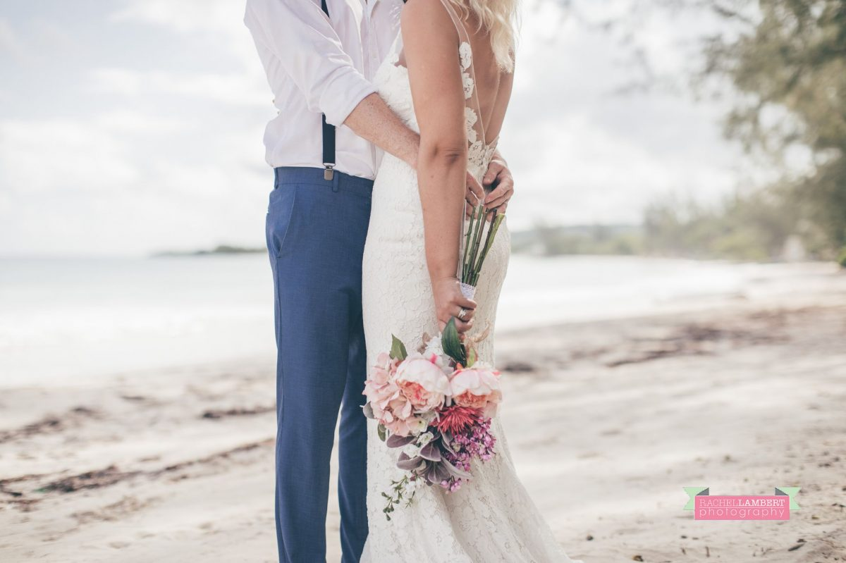beach bridal flowers bride and groom jamaica