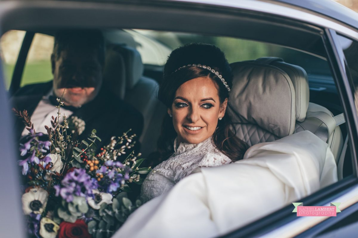 arrival of bride in wedding car at oldwalls