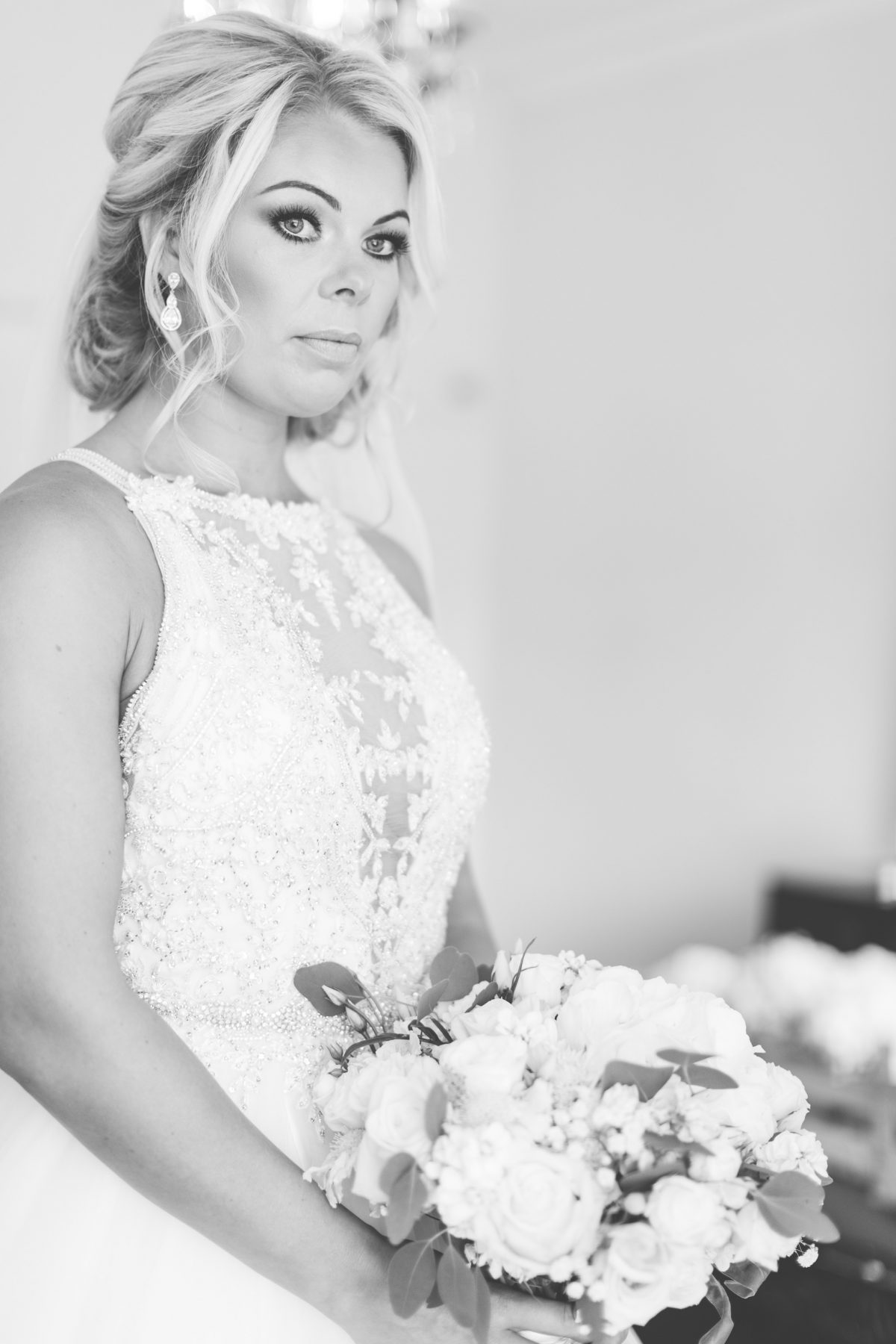 black and white bride just before the ceremony rachel lambert photography