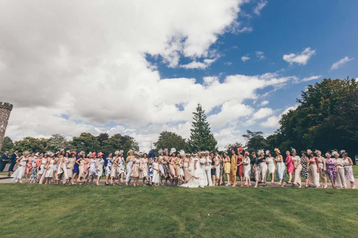 big group shot of all the ladies hensol castle wedding summer rachel lambert photography