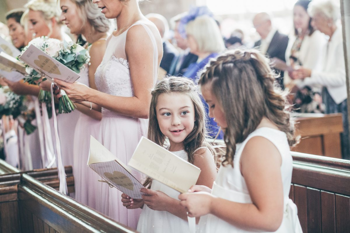 flower girls singing in church abergavenny sugar loaf barn wedding wales rachel lambert photography