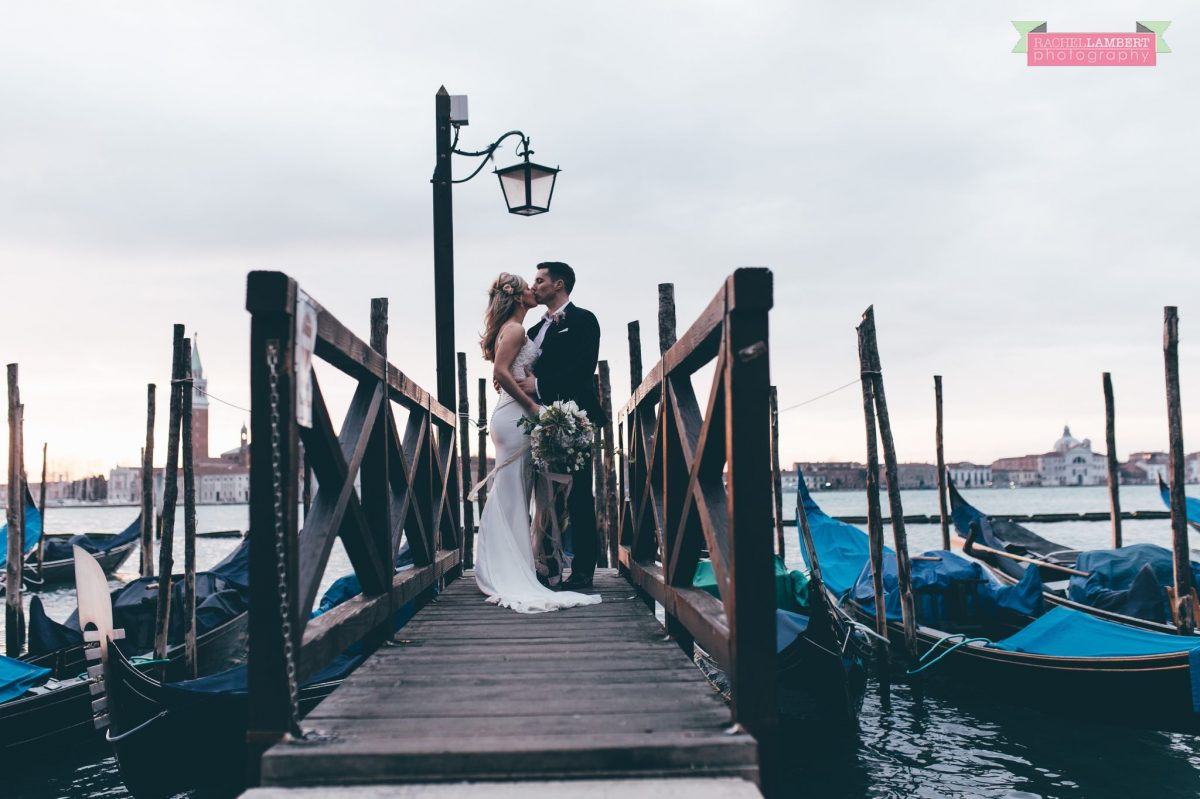 bride and groom grand canal gondolas Venice italy