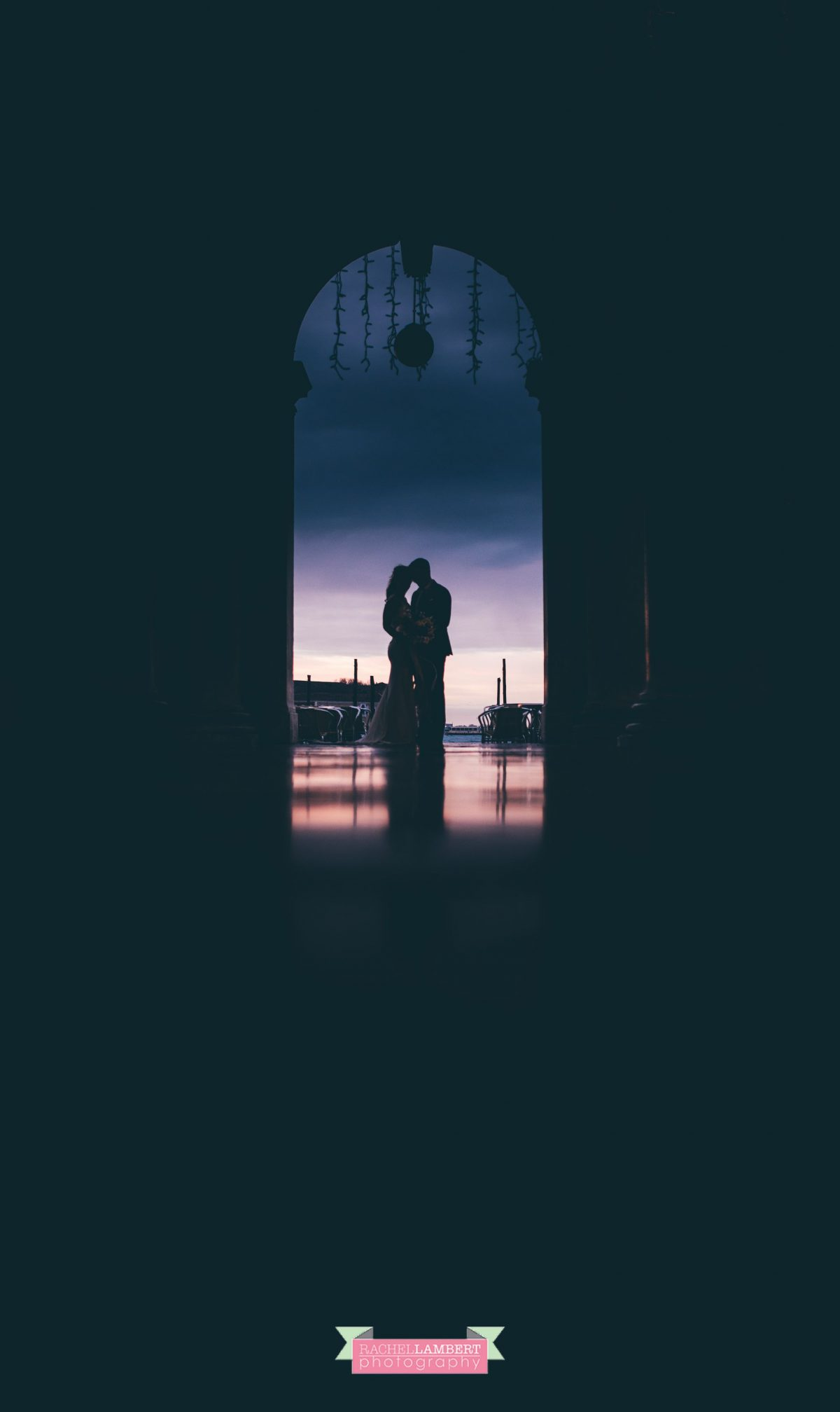 bride and groom sunrise silhouette st marks square Venice italy