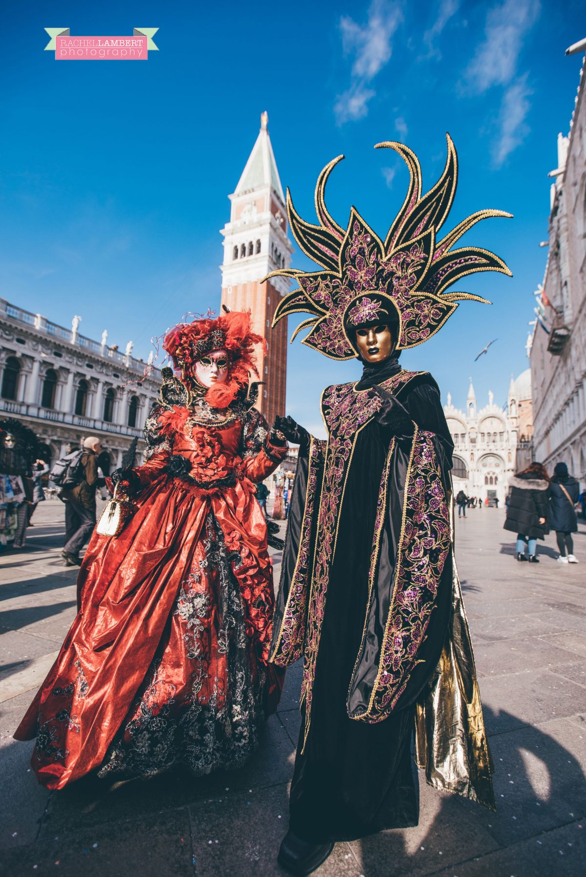 venice mask festival st marks square italy campanile tower