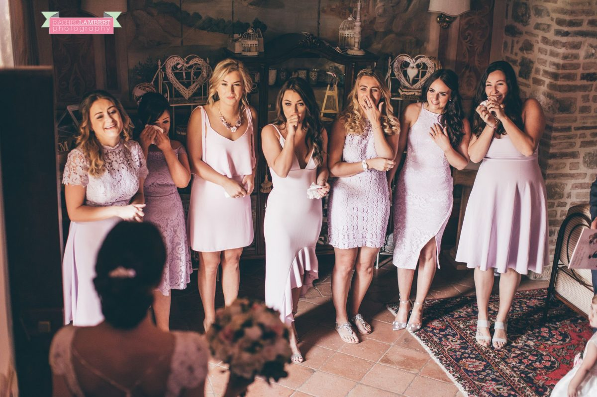 wedding in italy cortona tuscany villa san crispolto bridesmaids seeing bride for first time