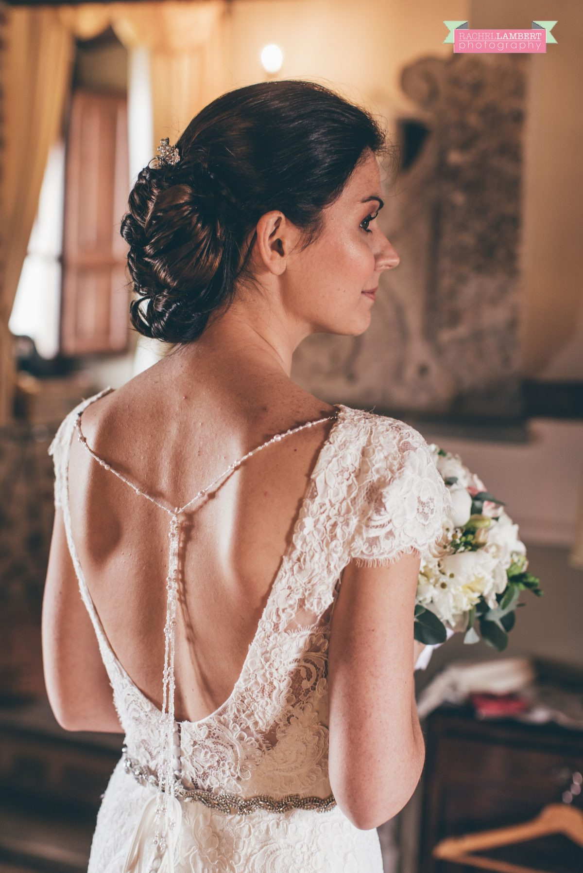 wedding in italy cortona tuscany villa san crispolto bride portrait back of dress