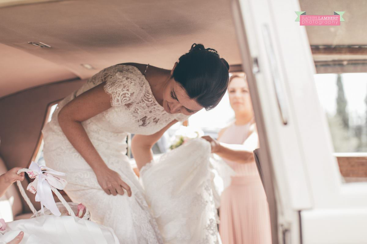 wedding in italy colour cortona tuscany town hall bride departing villa san crispolto