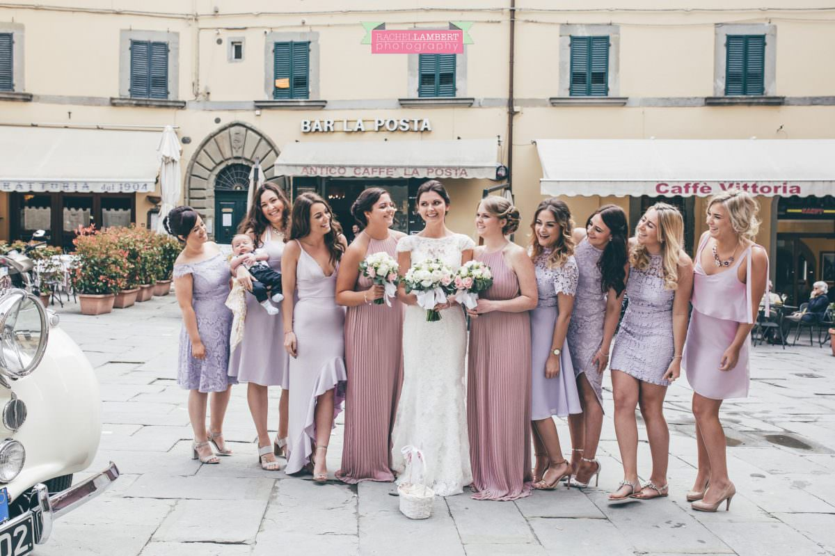 wedding in italy colour cortona tuscany town ceremony bridesmaids