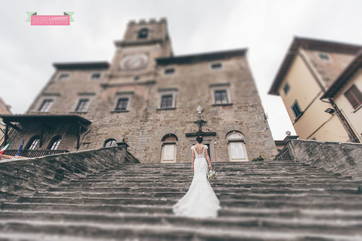 bride portrait wedding in italy colour cortona tuscany town hall steps