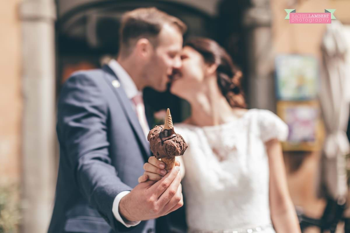 bride and groom portrait wedding in italy colour cortona tuscany ice cream