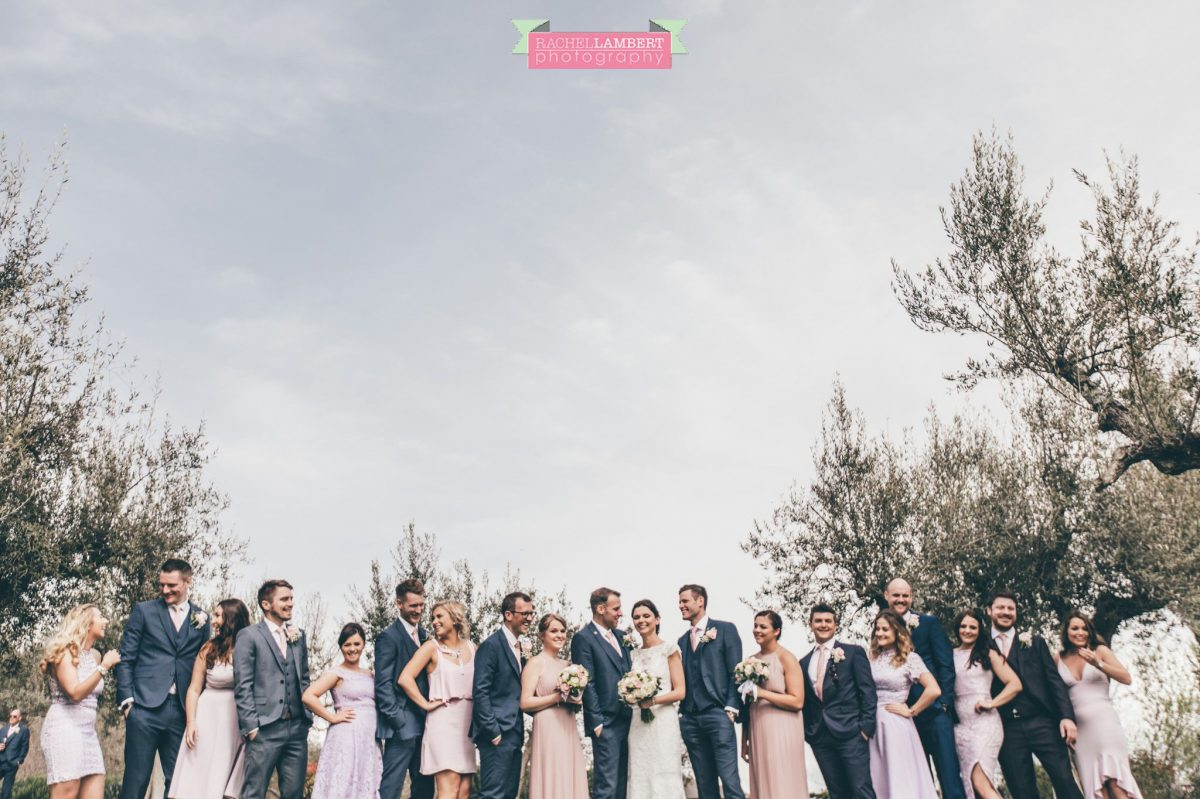 bride and groom bridal party group shots wedding in italy