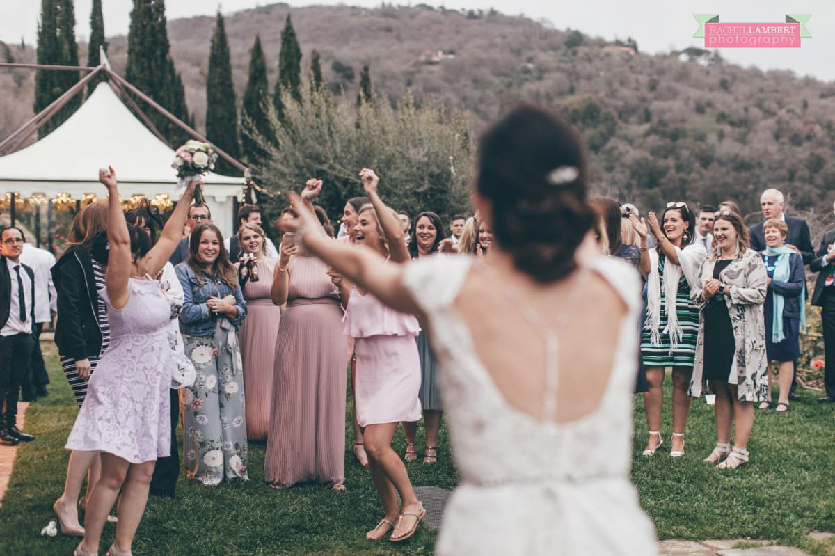 throwing the bouquet wedding in italy