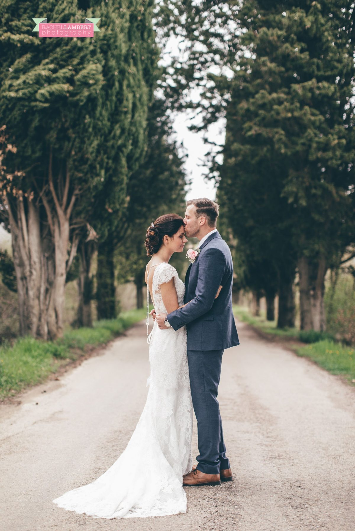 bride and groom portrait wedding in italy colour cortona tuscany Cypress tree