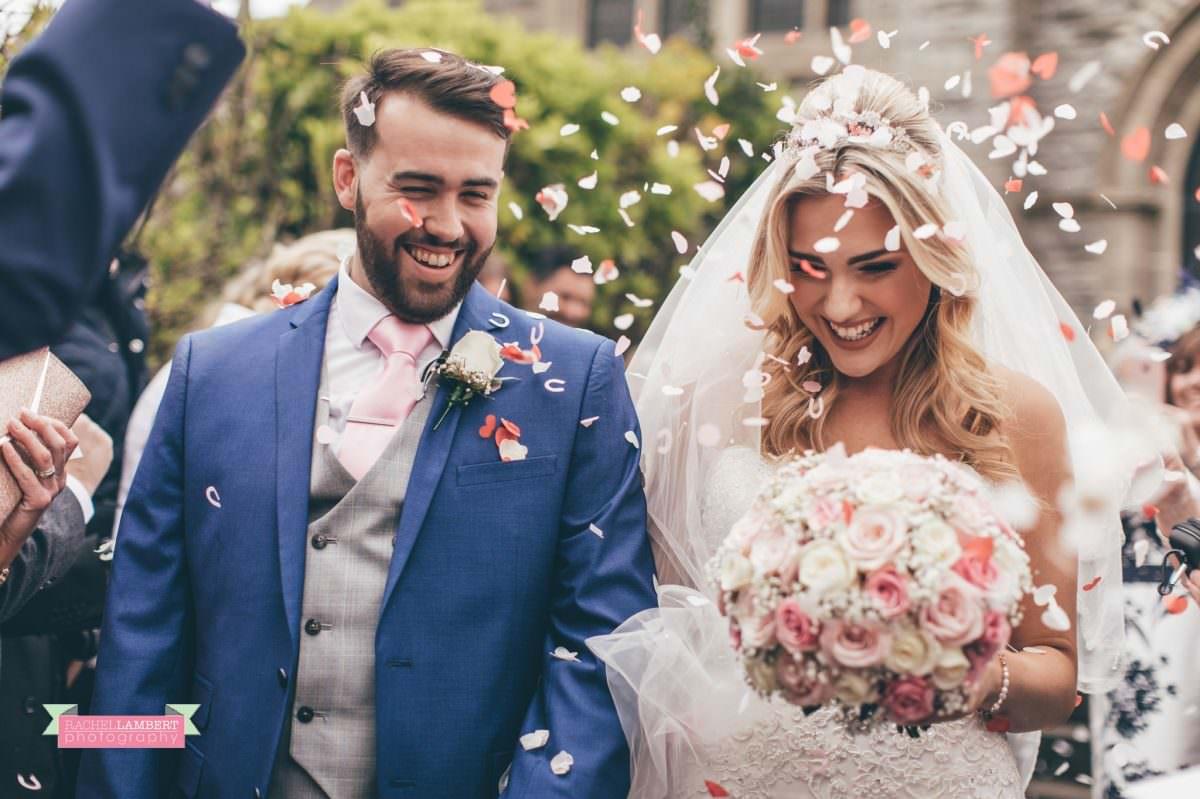 rachel lambert photography bride and groom st augustines church confetti