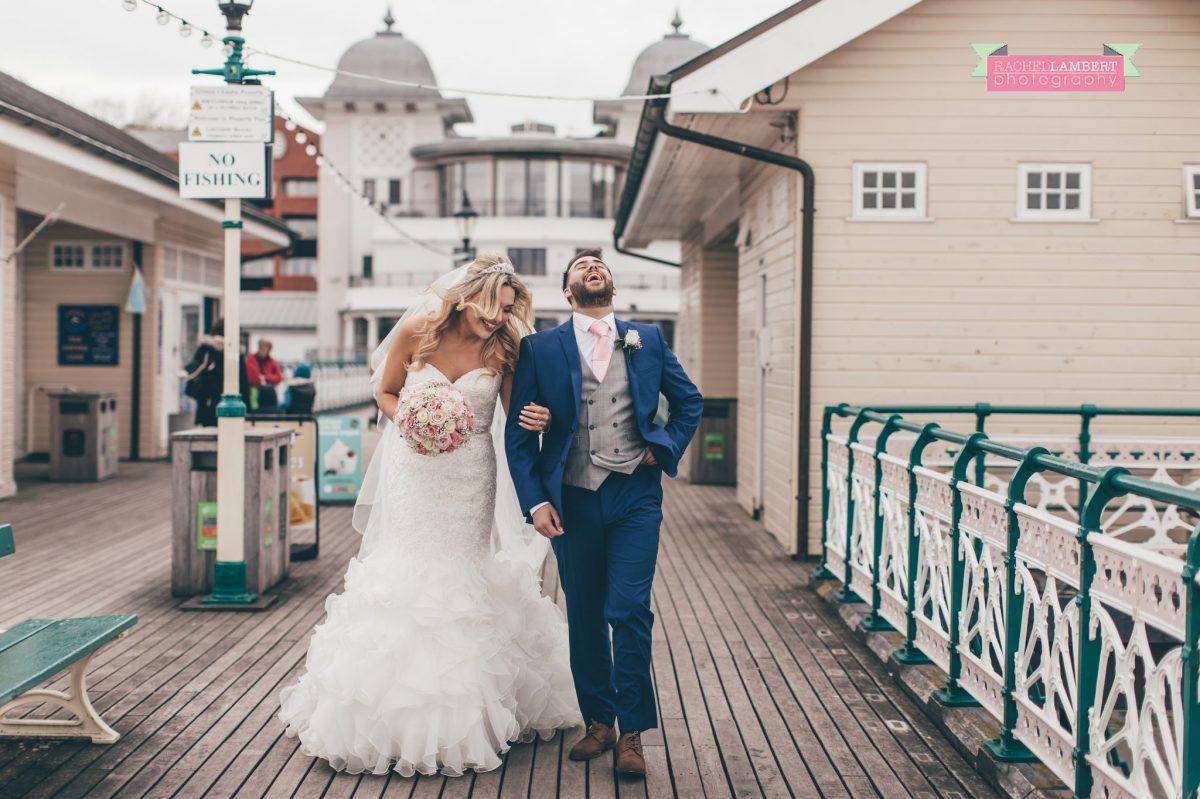 rachel lambert photography bride and groom penarth pier couple laughing