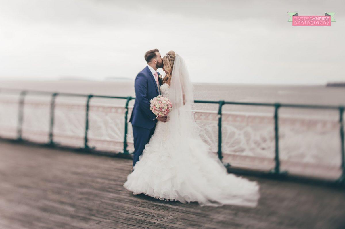 rachel lambert photography bride and groom penarth pier tilt shift