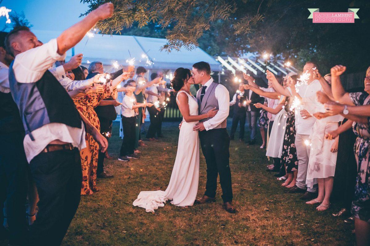 Rachel Lambert Photography llanerch vineyard wedding photographer bride and groom sparkler shots