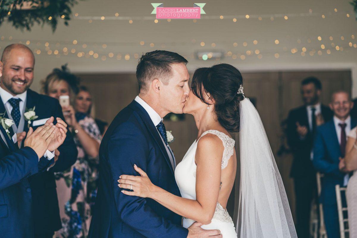 Rachel Lambert Photography llanerch vineyard wedding photographer bride and groom first kiss