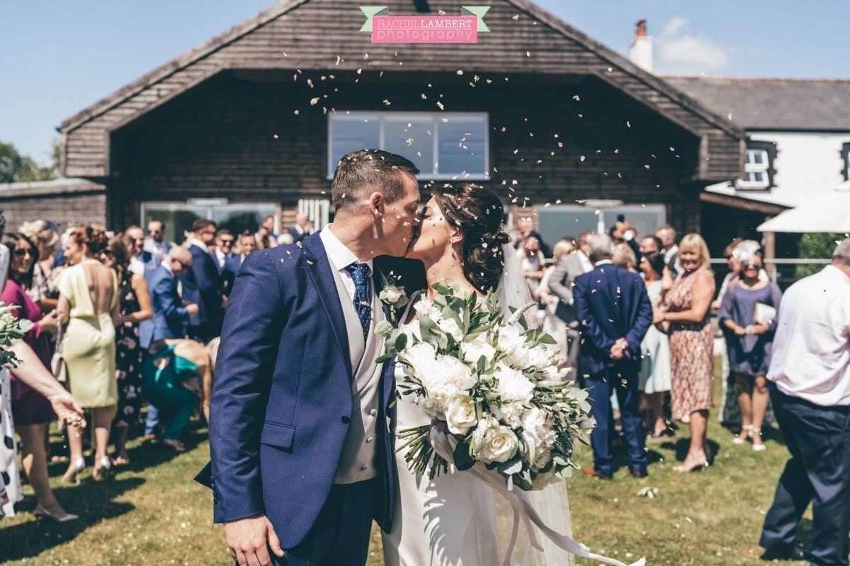 Rachel Lambert Photography llanerch vineyard wedding photographer bride and groom confetti shot