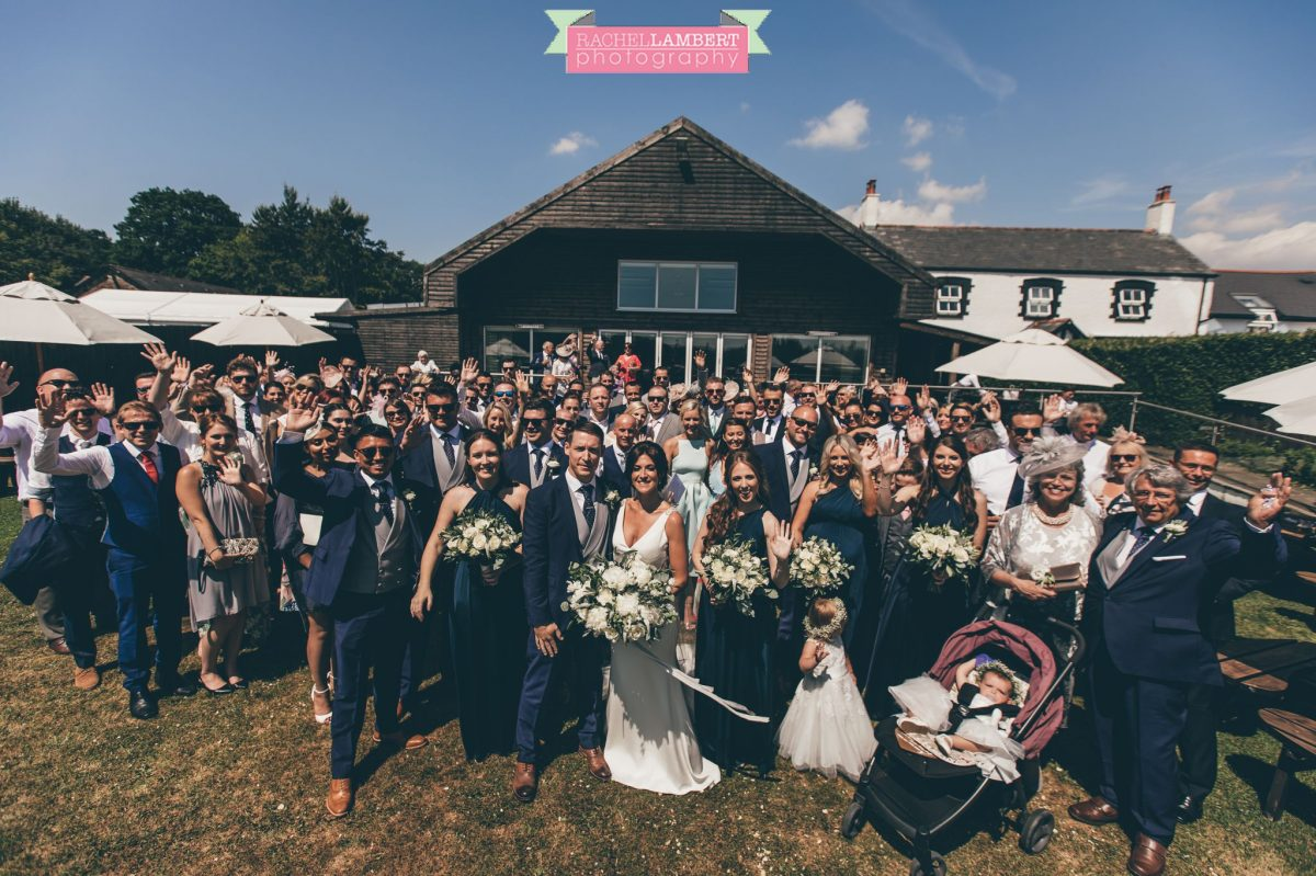 Rachel Lambert Photography llanerch vineyard wedding photographer bride and groom and all guests big group shot