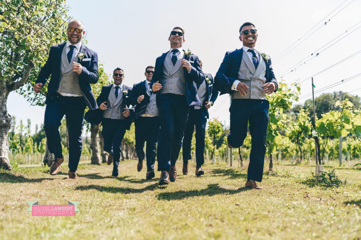 Rachel Lambert Photography llanerch vineyard wedding photographer groomsmen running