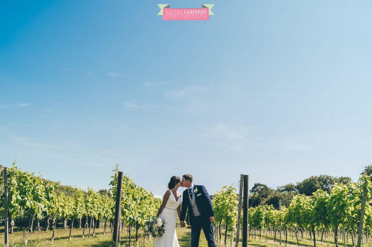 Rachel Lambert Photography llanerch vineyard wedding photographer bride and groom couple shots in the vines