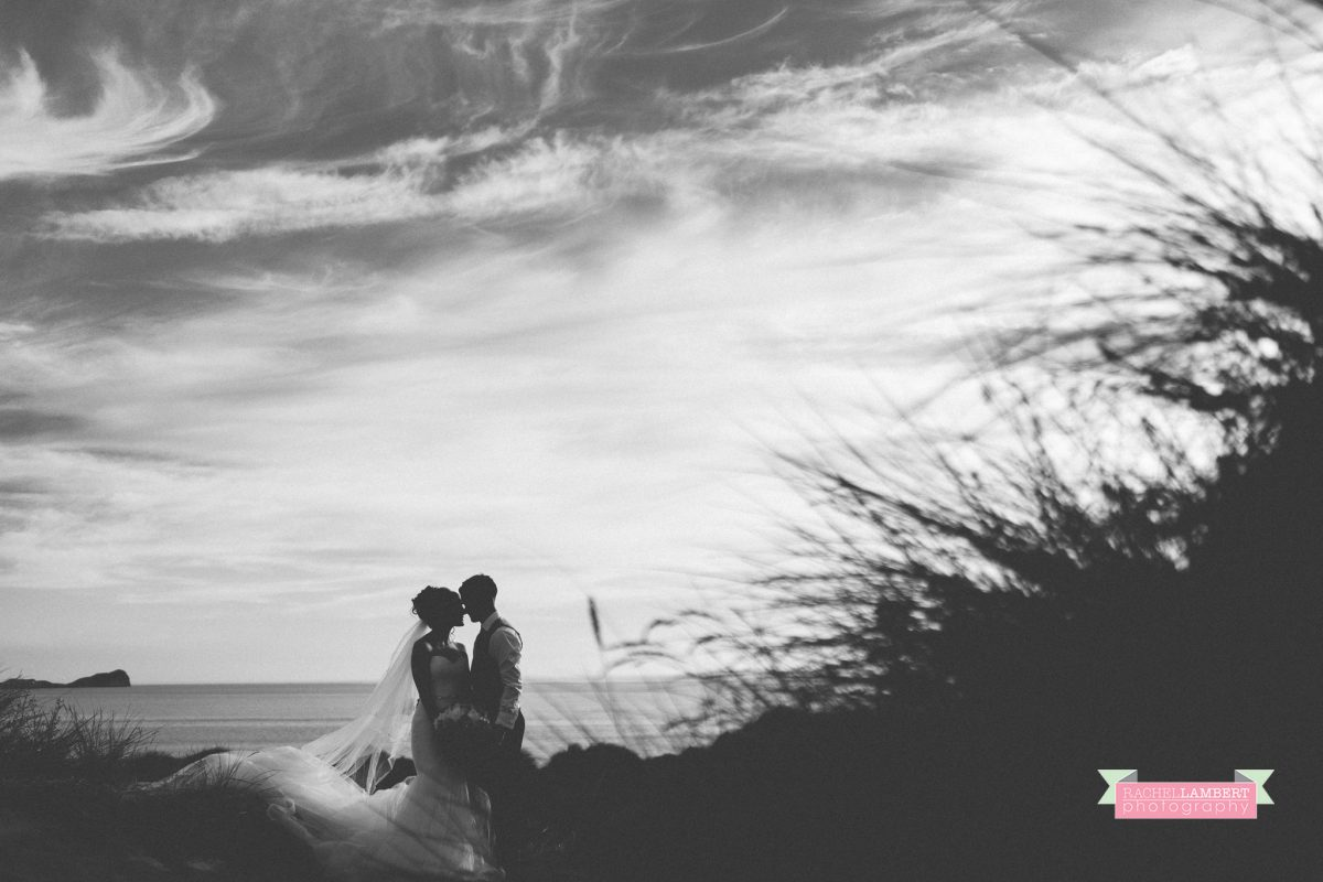 olwalls wedding photographer rachel lambert photography bride and groom llangennith beach golden hour