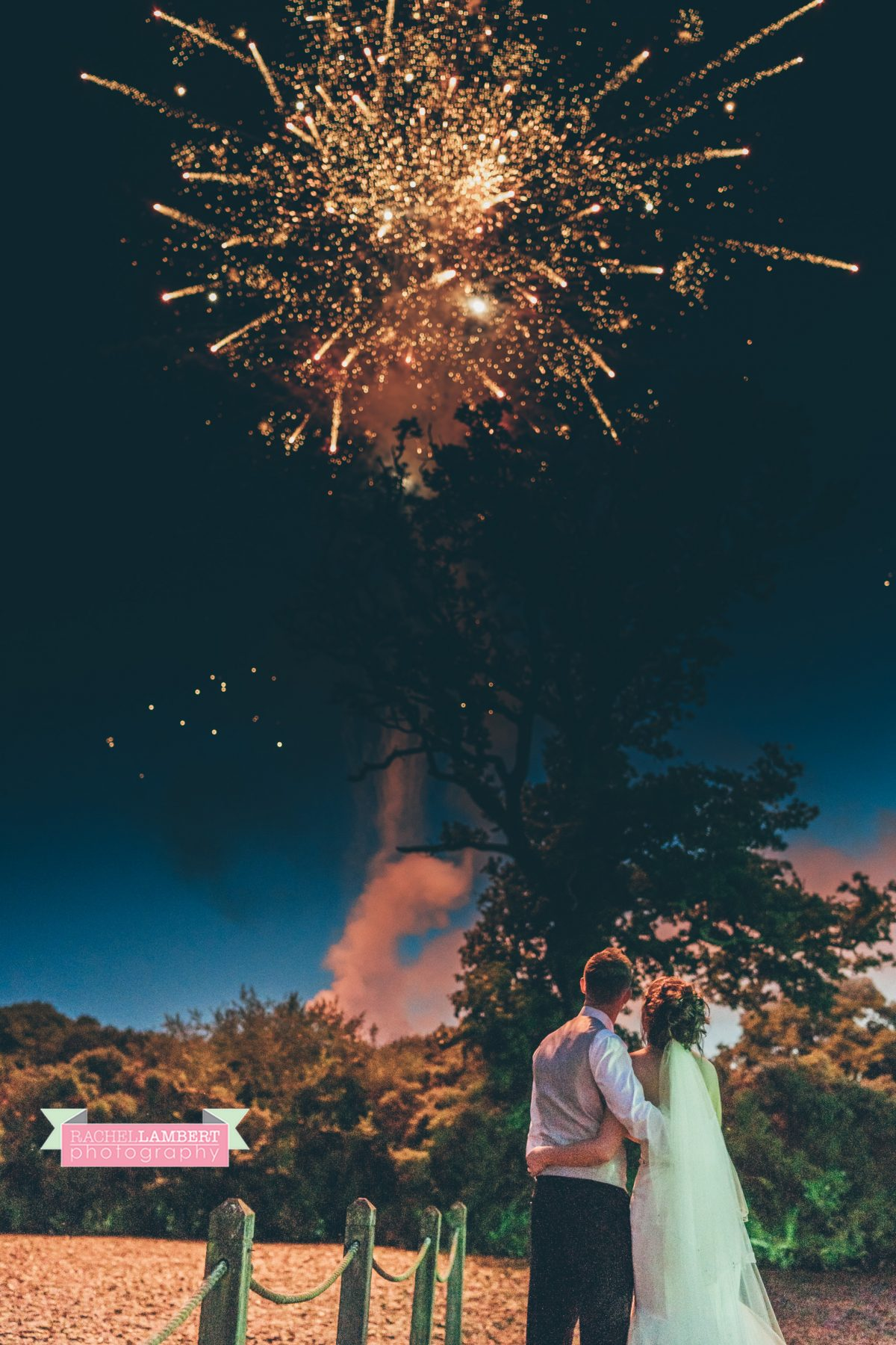 olwalls wedding photographer rachel lambert photography bride and groom fireworks
