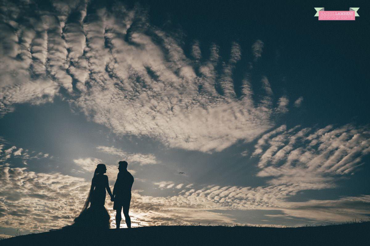 rachel lambert photography post wedding shoot dunraven bay sony alpha bride and groom sunset amazing clouds