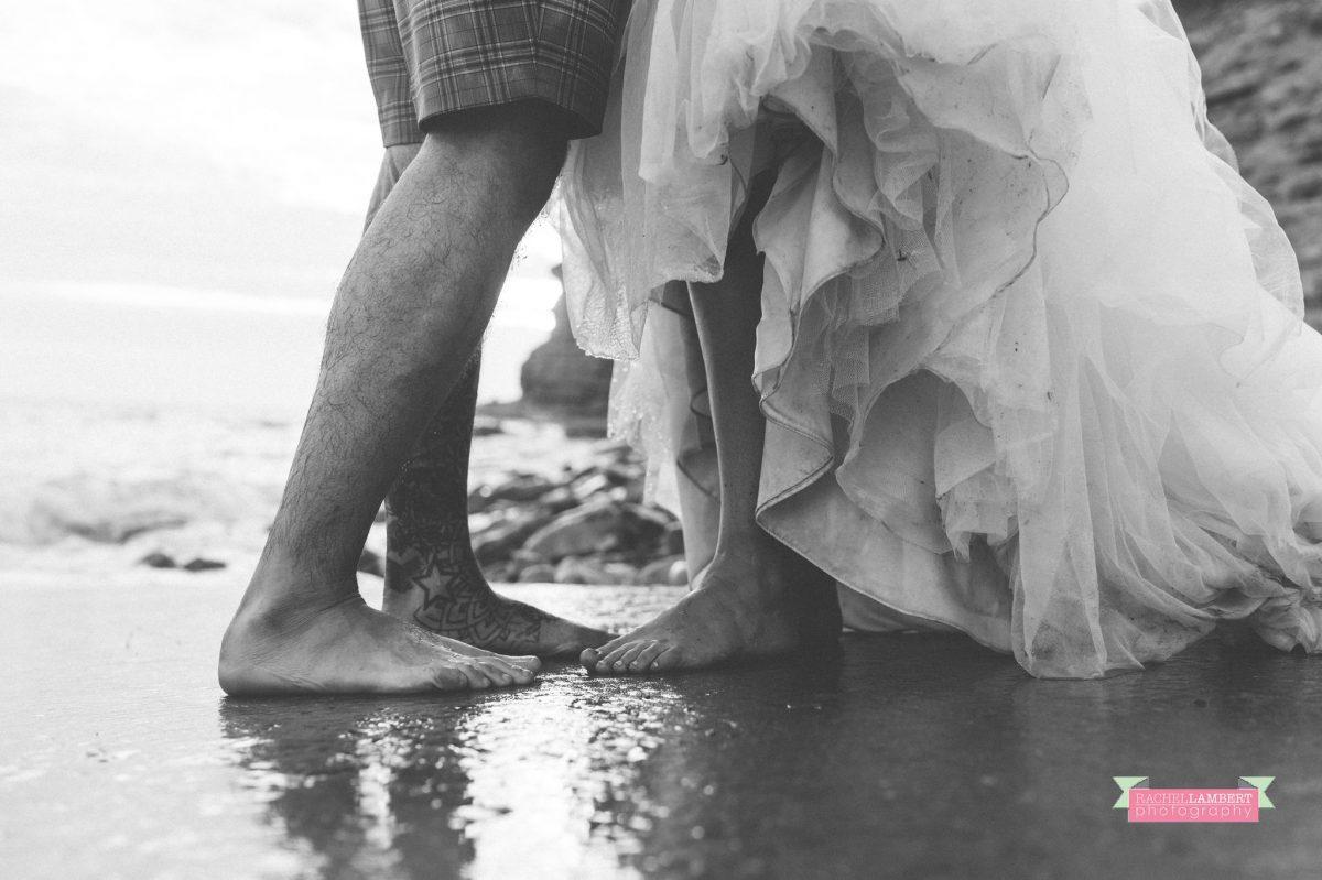 rachel lambert photography post wedding shoot dunraven bay sony alpha bride and groom sunset feet