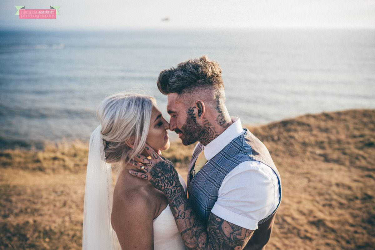 rachel lambert photography post wedding shoot southerndown beach sony alpha bride and groom golden hour tattoos