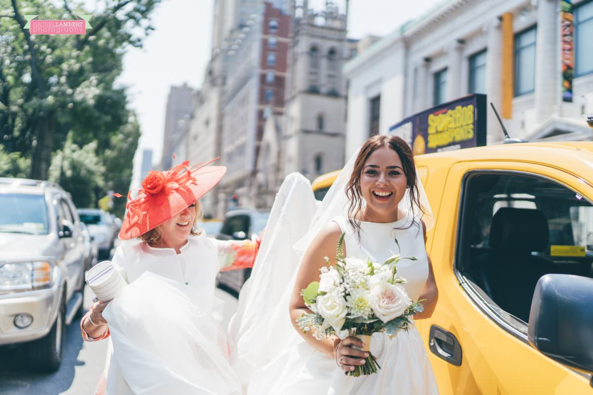 rachel lambert photography new york wedding photos bride arrival yellow cab central park