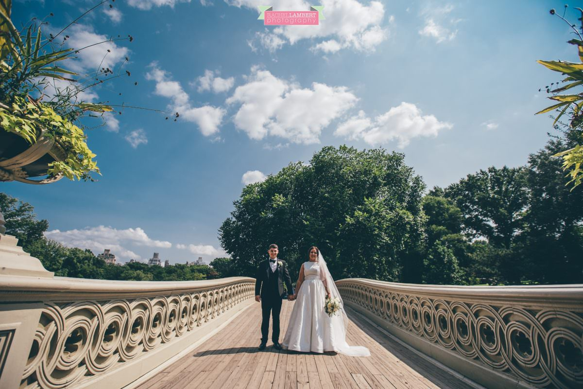 rachel lambert photography new york wedding photos bride and groom central park bow bridge