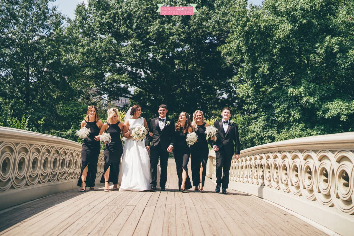 rachel lambert photography new york wedding photos bride and groom central park bow bridge bridal party