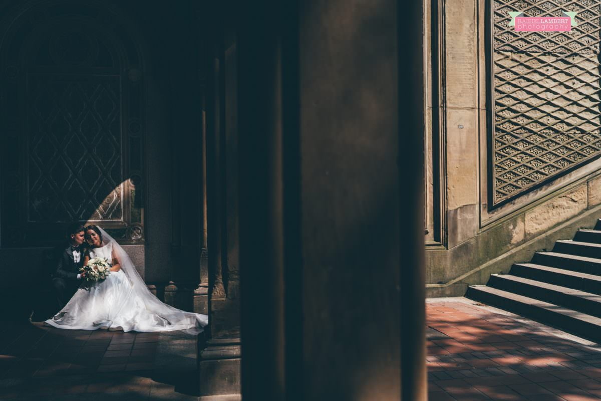 rachel lambert photography new york wedding photos bride and groom bethesda terrace shadows