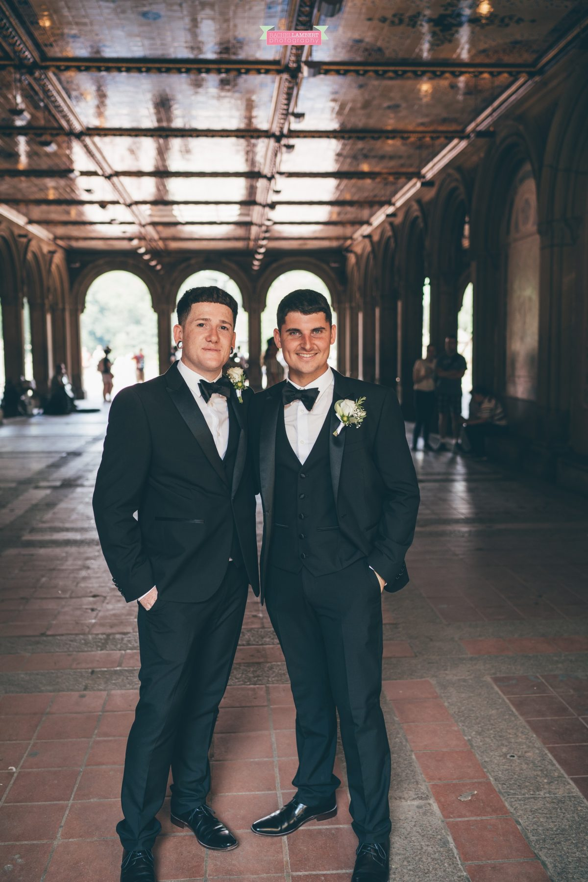 rachel lambert photography new york wedding photos groom and best man bethesda terrace bridesmaids