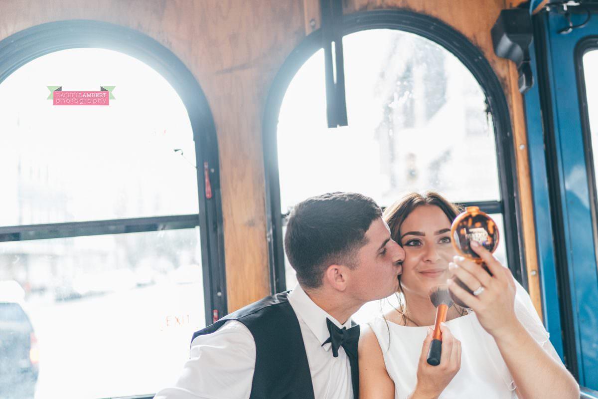 rachel lambert photography new york wedding photos bride and groom trolley bus sight seeing