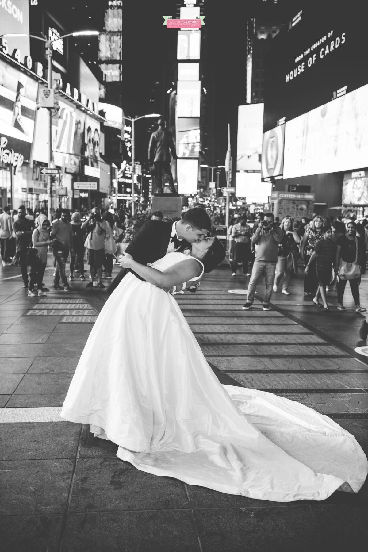 rachel lambert photography time square wedding photos bride and groom kissing