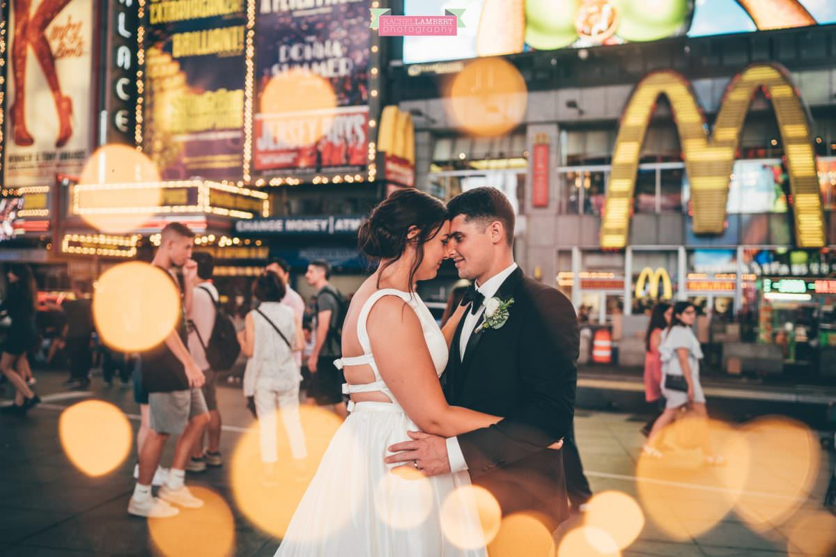rachel lambert photography time square wedding photos bride and groom fairy lights