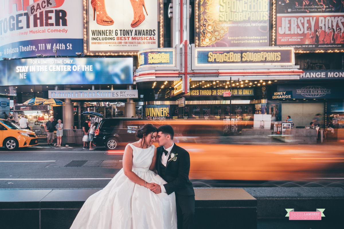 rachel lambert photography time square wedding photos bride and groom long exposure shutter drag