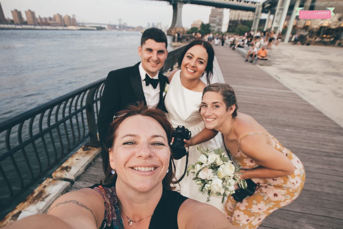 rachel lambert photography brooklyn bridge with bride and groom and second shooter laura dale photogrraphy