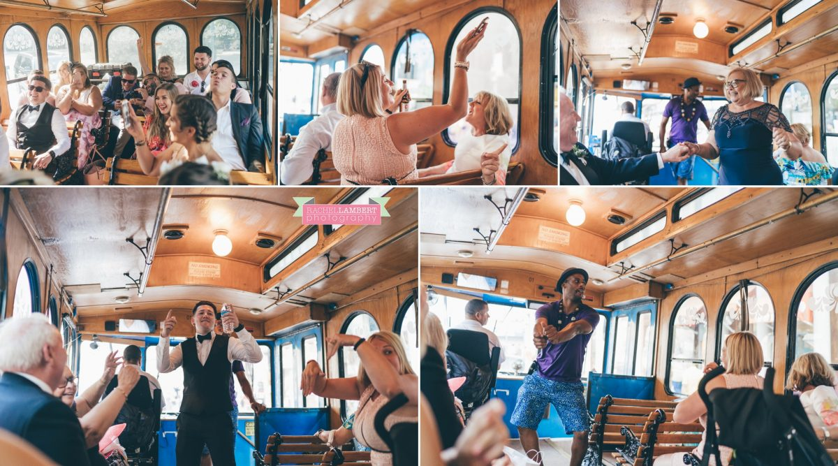 rachel lambert photography new york wedding photos trolley bus sightseeing tour