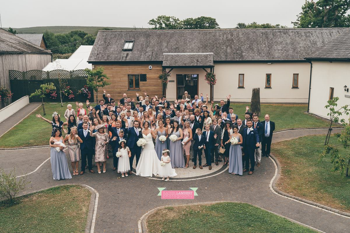 oldwalls wedding photographer bride and groom big group shot