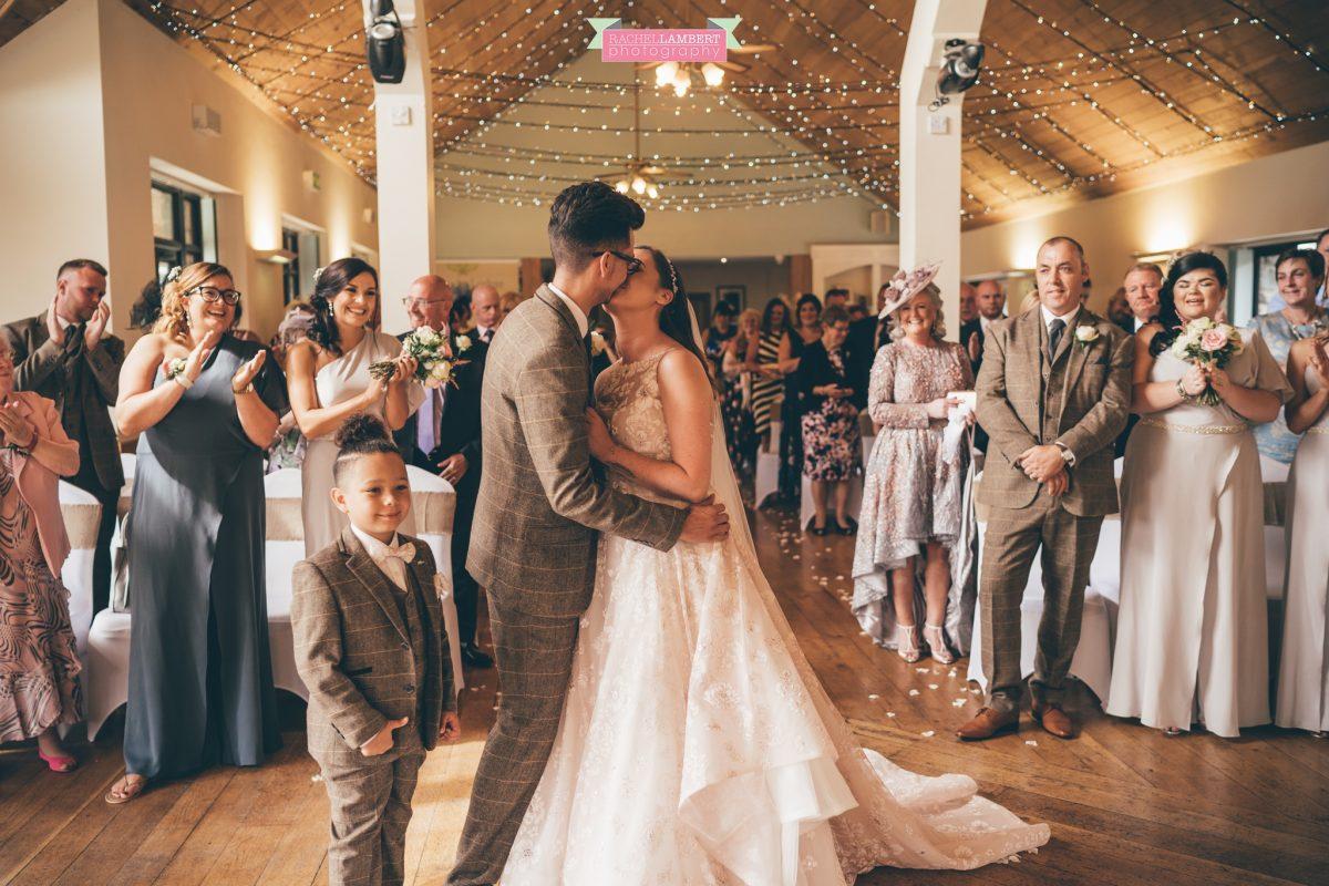 canada lake lodge first kiss bride and groom